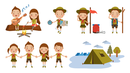 Scout honor character Set. Children hand in hand. hand gesture Camping. Boy playing guitar around the campfire. Kid studying a tour route map. camping tent. Roasting sausage on campfire. Funny camping
