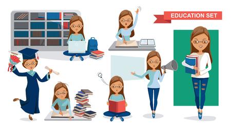 Ensemble des étudiantes de l'éducation. Tenant un mégaphone. Remise des diplômes, lecture dans la bibliothèque, cours en classe, utilisation d'un ordinateur, concept d'activité étudiant. conception de personnage Illustrations vectorielles isolées.