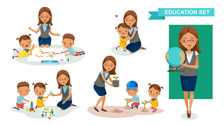 School teacher with children in different activities set. Illustration