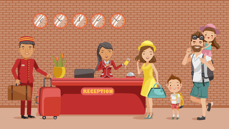 Family checking in hotel at lobby. The receptionist holds a key card, a porter carrying luggage, Dad carrying his daughter, mother, son, Hotel stay. Happy family concept. Cartoon, illustration,vector,
