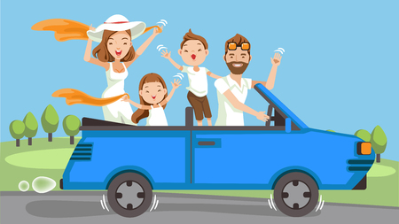Happy family traveling by Blue car Convertible. People set father, mother and children.Waving, smiling and laughing. sitting in automobile and standing together. Family Vector illustration Ilustrace