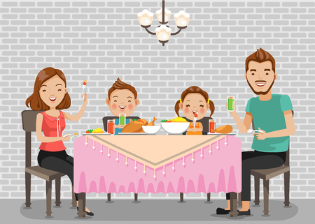 Family meal.Father, mother,son and daughter together happily sit at the table and have dinner.Standard vector graphics creative for you to use as illustrations. Cartoon for print.Isolated  background Illustration