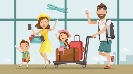Family travel. Father ,mother, son and daughter at the airport.Happy family concept. Cartoon Asian Character Family, illustration, vector,Isolated from the background Airport