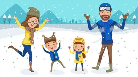 winter family snow Having Fun. father, mother, son, daughter.Jump, smile and chase snowflakes. Cartoon family cute. vector illustration