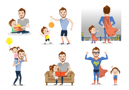 Father and son or daughter set. Having fun together. Playing with dad. Fatherhood concept. Role model and greatest mentor. Vector illustration Isolated on white background