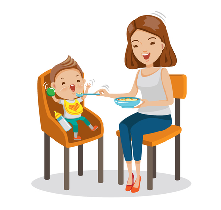Mather is feeding Little son. baby sitting in the highchair. Standard vector graphics creative and versatile  to use as illustrations cartoon for print, web, interactive,Isolated on white background Illustration
