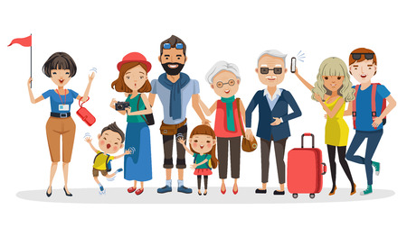Tour guides and tourist groups big family. Grandfather, grandmother, father, mother, girl, boy, friend, teen and girlfriend at Selfie, carrying a bag, camera, waving and laughing Happy family. Vector Vectores