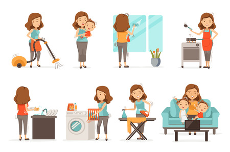 Sonriendo ama de casa y actividades felices Conjunto de asuntos mujer. Cuidado del bebé, planchas, aspiradoras, limpia, cocina, lava platos, limpia el espejo, cría niños, videollamadas. Aislado sobre fondo blanco