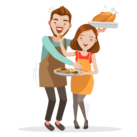 Young Couple husband and wife Wear apron. Women making cookies, men eating sweets And are preparing together cooking . isolated on White background. Vector illustration Cute cartoon style