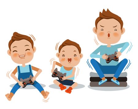 Cartoon boys playing video games together. Vector illustration.