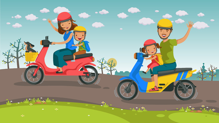 Motorcycle Travel asians family. son, daughter, father Motorcycle ride together Go on the road. Smile and waved happily. Beautiful scenery, morning in the spring. Vector illustrations