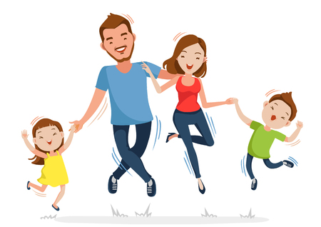 Father mother daughter and son holding hands together jumped. Happy family is jumping.Isolated on white background.Vector illustration  Ilustração