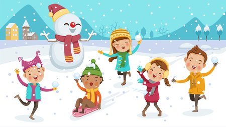kids playing outdoors in winter. little boy riding on snow slides. cute little children Group. Play snow fun. Portrait in warm clothes. illustration isolated on scene with snowflakes scattering. 矢量图像