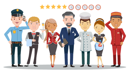 Hotel worker service group of hotel. Waitress, manager, housekeeping, hotel luggage, receptionist, chef, security guard. Character set team work concept. Detailed and unique, isolated on white background.