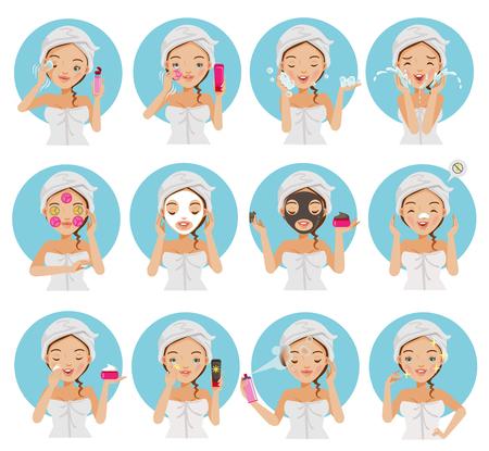 Junge schöne Jugendliche der Hautpflege, die ihr Gesicht, ihre saubere Haut genießend berührt. Mädchenreinigung und -sorgfalt ihr Gesicht mit verschiedenen Aktionen, Gesichtsbehandlung, gesund, ihre Backe berührend und lächelnder Vektorsatz. Vektorgrafik