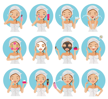 Skin care young beautiful teenage girl touching her face, enjoying her clean skin. Girl cleaning and care her face with various actions, facial, healthy, touching her cheek and smiling vector set. Ilustrace