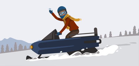 Snowmobiling. Happy smiling and greetings man driving snowmobile in snow capped mountains. Vector illustration. Иллюстрация