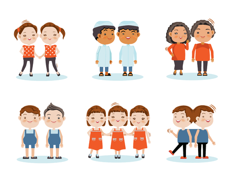 Śliczne, małe, uśmiechnięte bliźniaki chłopców, bliźniaczki, trojaczki, bliźniaki trzymają się razem. Ilustracja wektorowa, izolowana na białym tle.
