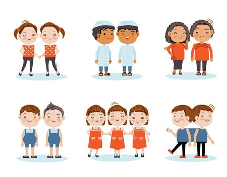 Netter kleiner lächelnder Jungenzwilling, Mädchenzwillinge, Dreiergruppen, Zwillinge haften zusammen. Vektorabbildung, getrennt auf weißem Hintergrund.