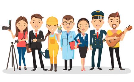 Mensen van verschillende beroepen. Geïsoleerd op witte achtergrond, vectorillustratie.