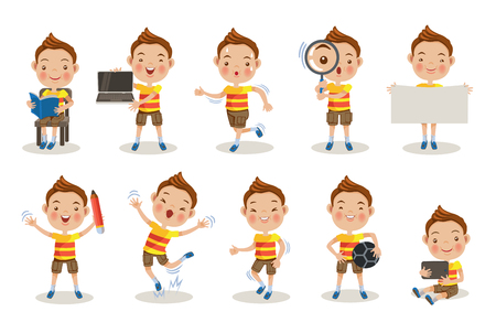 Kids different pose, about learning at school or at home. Çizim