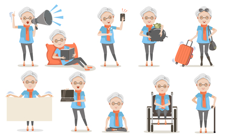 Elderly female poses and emotion in casual clothes in different.