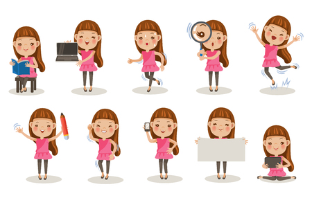 Little girl different pose, cartoon character set illustration. Vectores