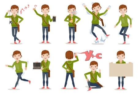 Teenage boy Set . variety of emotions and poses illustration.