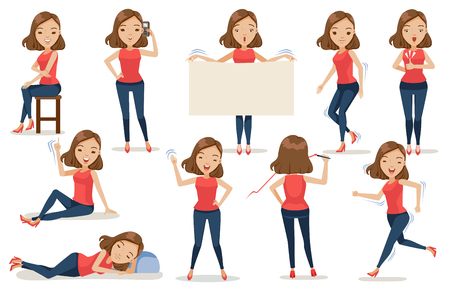 Set of woman character cartoon in casual clothes in different poses. Concept Vector illustration, Isolated on White background.