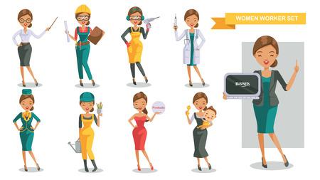 Woman working In uniform Cartoon character set. Women work differently. Teachers, engineers, carpenters, electricians,doctors, flight attendants, gardeners, models, housewives, business woman. vector Stock Illustratie