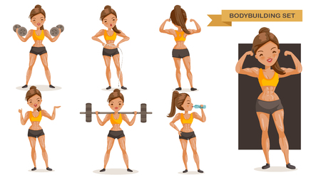Bodybuilding woman set. many views of exercise. front, side, rear, body with muscles of beautiful cartoon. cute girl in a fitness suit. Strong lifestyle concept, vector illustrations Isolated Illustration