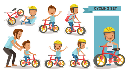 Cycling boy set. Father teaching son. child riding urban bicycle in helmet. Bike First and Injured leg injury. male road cyclist. Playing the playground. exercise, go to school. Biker culture concept Vector illustration.