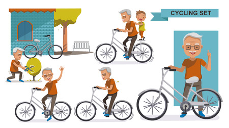 Cycling Older set. grandfather and Grandson. male Relax in the city bike, Leisure, activities, Landscaping, exercise, motion, Vector illustration. isolated on white background