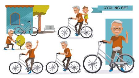 Set da ciclismo vecchio. nonno e nipote. maschio Rilassarsi in bici da città, tempo libero, attività, abbellimento, esercizio, movimento, illustrazione vettoriale. isolato su sfondo bianco