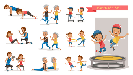 Fitness couple set. Different gesture activities.  Vector illustration  isolated on white background.