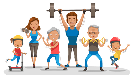Big family with grandparents, parents and children all exercising. Vector illustration.