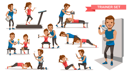 Trainer Personal helping woman set. working with sit-up, heavy dumbbells,Timer, correct posture, and Use of fitness equipment, Cartoon character design. Vector illustrations. Isolated white background