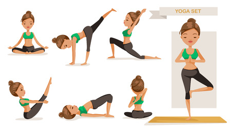 Yoga woman set. many views yoga exercise. front, side, rear, yoga of beautiful cartoon. cute girl in a fitness suit. Healthy lifestyle concept, vector illustrations Isolated on white background