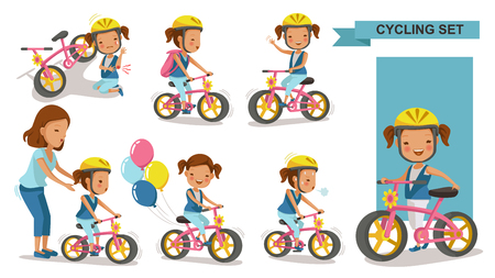 Cycling little girl. Mother teaching daughter. child riding urban bicycle in helmet. Bike First and Injured leg injury. Playing the playground. exercise, go to school. Biker culture concept. Vector illustration.