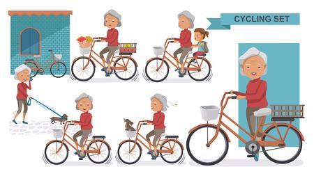 Radfahren Älteres Set. Oma und kleine Nichte. weiblich Entspannen Sie sich in der Stadt Fahrrad, Doggy, Übung, zur Arbeit gehen, auf den Markt gehen, Blume in einem Fahrradkorb. Vektor-illustration isoliert auf weiß