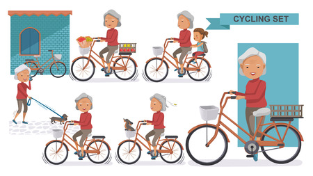 Cycling Older set. Grandma and little niece. female Relax in the city bike, Doggy, exercise, Go to work, go to the market, flower in a bicycle basket. Vector illustration. isolated on white