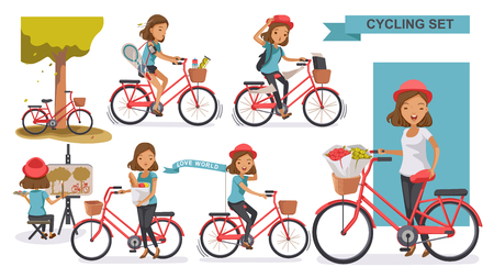 Radfahren Frau festgelegt. weiblicher tragender Hutfreizeitsommer. Stadtfahrrad Entspannen im Park, Malen, Sport treiben, zur Arbeit gehen, auf den Markt gehen, im Fahrradkorb blühen. Vektor-illustration isoliert auf weiß