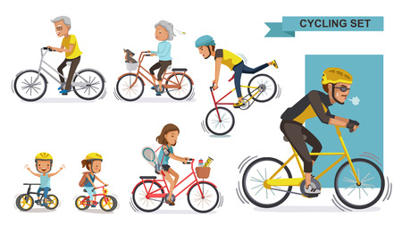 Cyclists Set. The concept of fitness and cycling differentiate each age range. Cartoon character vector illustration isolated on white background