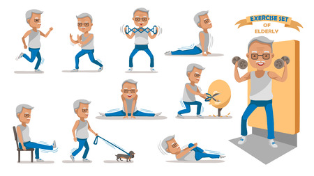 Senior exercise of male. exercising character design set.