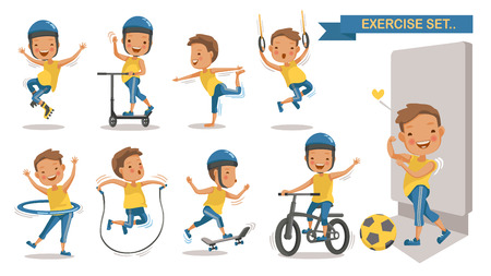 Exercise boy set with play football, rope jumping, Roller Blade, Scooter, yoga,  Skateboarding, cycling. Cartoon character design. Vector illustrations.Isolated white background