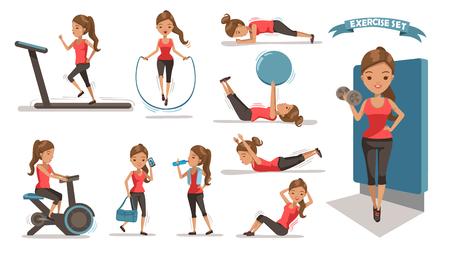 Kobieta ćwiczeń Zdrowie kobiet wykonuje zestaw projektów znaków. Cute girl całego ciała kreskówka zestaw. Pojedynczo na białym tle. ilustracji wektorowych