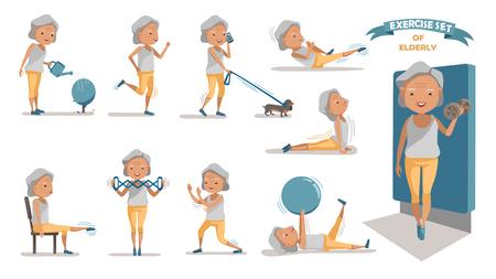 Ltere Übung der Frau. Zeichen-Design-Set ausüben. zu Hause mit einem einfachen Tagesablauf. Standard-Bild - 97849381