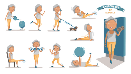 Senior exercise of female. exercising character design set. at home with a simple daily routine. 向量圖像