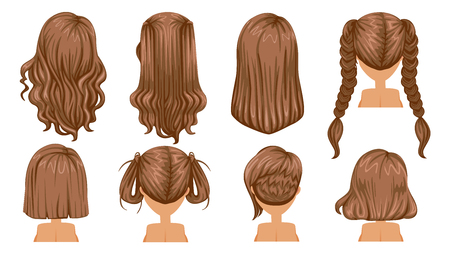 Beautiful hairstyle Brown Hair of woman. Rear view. modern fashion for assortment. long hair, short hair, curly hair salon hairstyles and trendy haircut vector icon set isolated on white background. Vettoriali