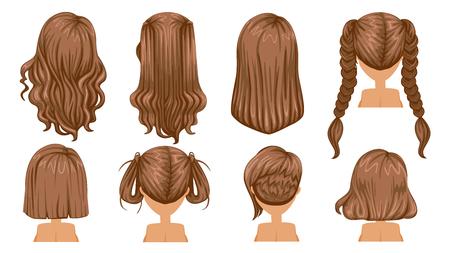 Piękna fryzura Brązowe włosy kobiety. Widok z tyłu. nowoczesna moda na asortyment. długie włosy, krótkie włosy, kręcone fryzury w salonie fryzjerskim i modna fryzura wektor zestaw ikon na białym tle.